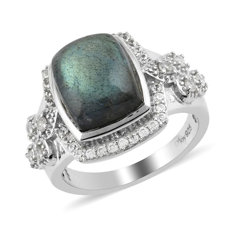 Platinum Over 925 Silver Labradorite Zircon Halo Ring Size 7 Ct 6.2