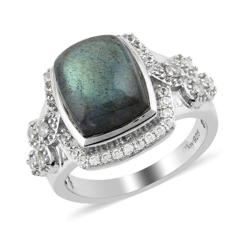 Platinum Over 925 Silver Labradorite Zircon Halo Ring Size 8 Ct 6.2