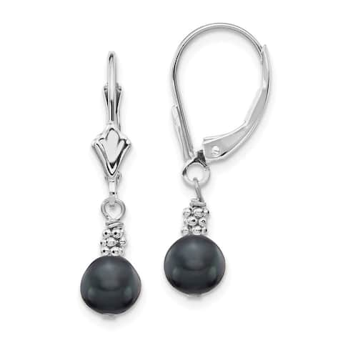 14K White Gold 5-6mm Semi-round Black Freshwater Cultured Pearl Leverback Earrings by Versil
