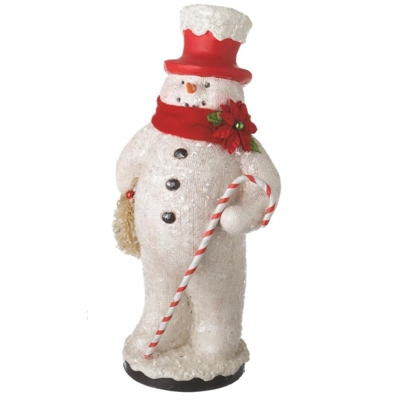 """13"""" Cheerful Glitter Snowman with Red Top Hat Holding Wreath Holiday Table Top Figure"""