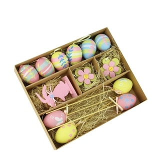 Set of 13 Pastel Pink, Blue and Yellow Easter Egg, Flower and Bunny Spring Decorations - N/A