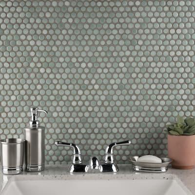 "SomerTile Hudson Penny Round Mint Green 12"" x 12.63"" Porcelain Mosaic Tile"