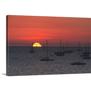 """Sailing yachts at sunset"" Canvas Wall Art"
