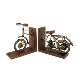 Set of 2 Vintage Bicycle Front and Back Antique Brass Finish Bookends