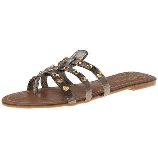 Callisto Girls Rose Faux Leather Studded Thong Sandals - 4 medium