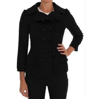 Dolce & Gabbana Black Wool Stretch Trench Jacket - it40-s