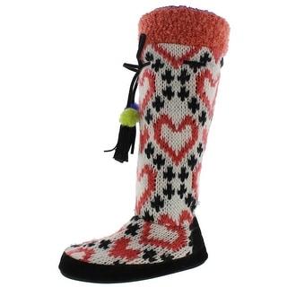 Muk Luks Womens Bootie Slippers Mid-Calf Colorblock