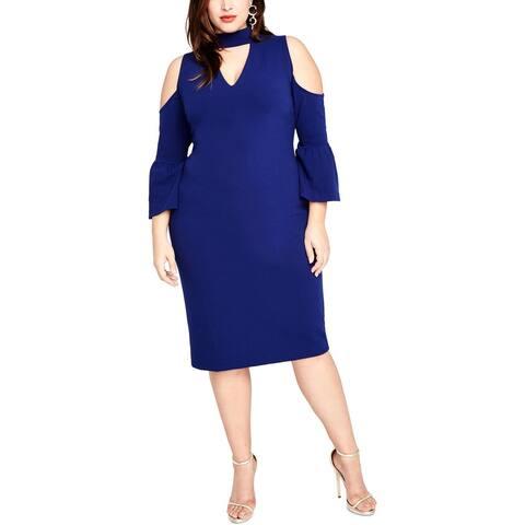 Rachel Rachel Roy Womens Plus Cocktail Dress Crepe Party Blue 22W