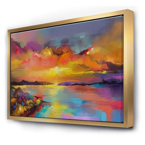 Designart 'Sunset With Colorful Reflections I' Modern & Contemporary Framed Canvas Wall Art Print