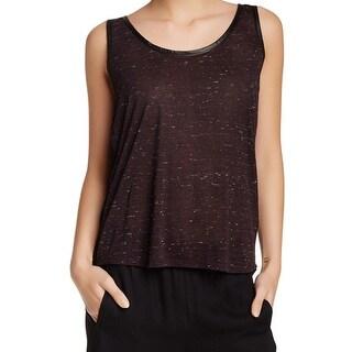 Splendid NEW Black Womens Size XS Slub-Knit Faux Leather Trim Tank Top