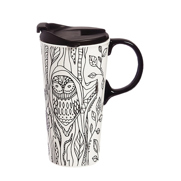 Cypress Home Forest Friends Owl Coloring Book Ceramic Travel Coffee Mug 17 Ounces 5 33
