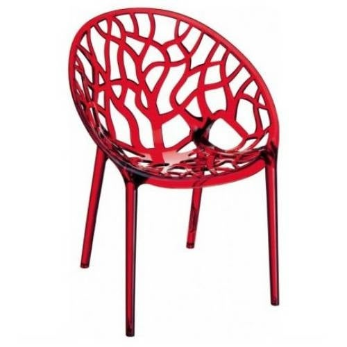 Compamia ISP052-TRD Crystal Set of 2 Polycarbonate Dining Chairs Transparent Red