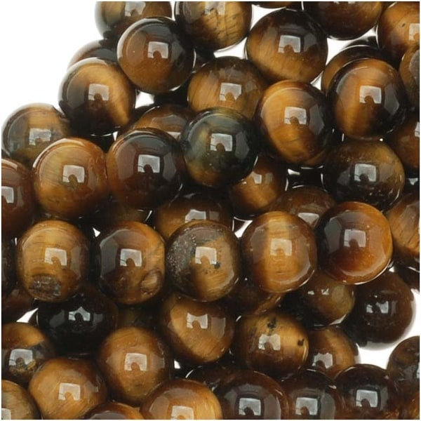 Tiger Tigers Eye Gem Round 6mm Beads/15.5 (Brown & Gold)