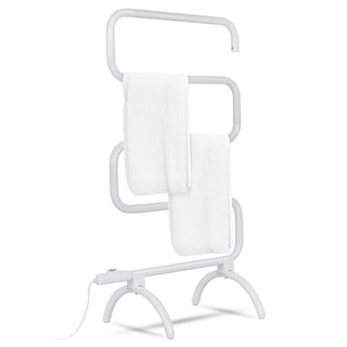 Costway 100W Electric Towel Warmer Drying Rack Freestanding and Wall Mounted White