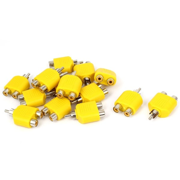 Unique Bargains Yellow RCA Y Splitter Male to 2 Female M/F Stereo Audio Video Connector 15pcs