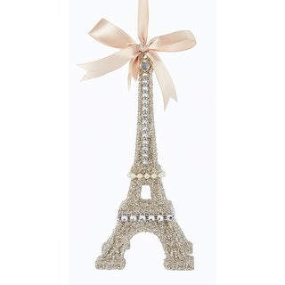 Vintage Look Glamour Platinum Glitter Eiffel Tower Christmas Ornament 7 Inches