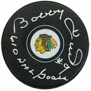 Bobby Hull Signed Chicago Blackhawks Logo Hockey Puck w610 NHL Goals