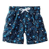 Azul Boys Blue Bandana Paisley Print Drawstring Tie Swim Shorts
