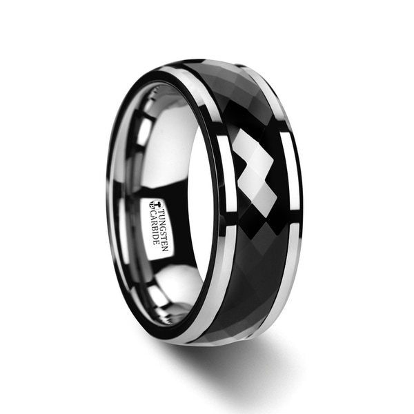 Hickok Polished Diamond Faceted Black Ceramic Spinner Ring With Beveled Edges