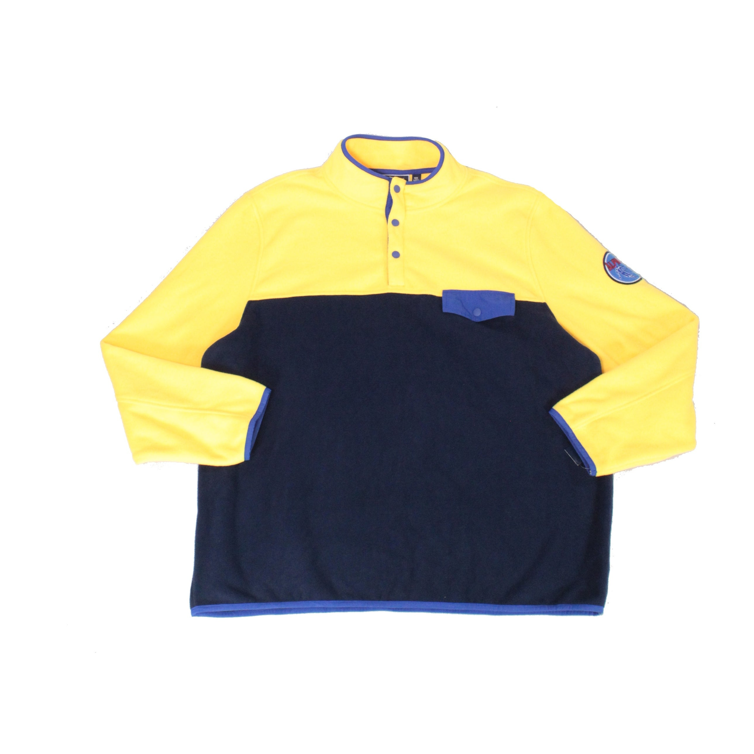 Club Room Mens Sweaters Yellow Navy Size Large L Henley Fleece Pullover