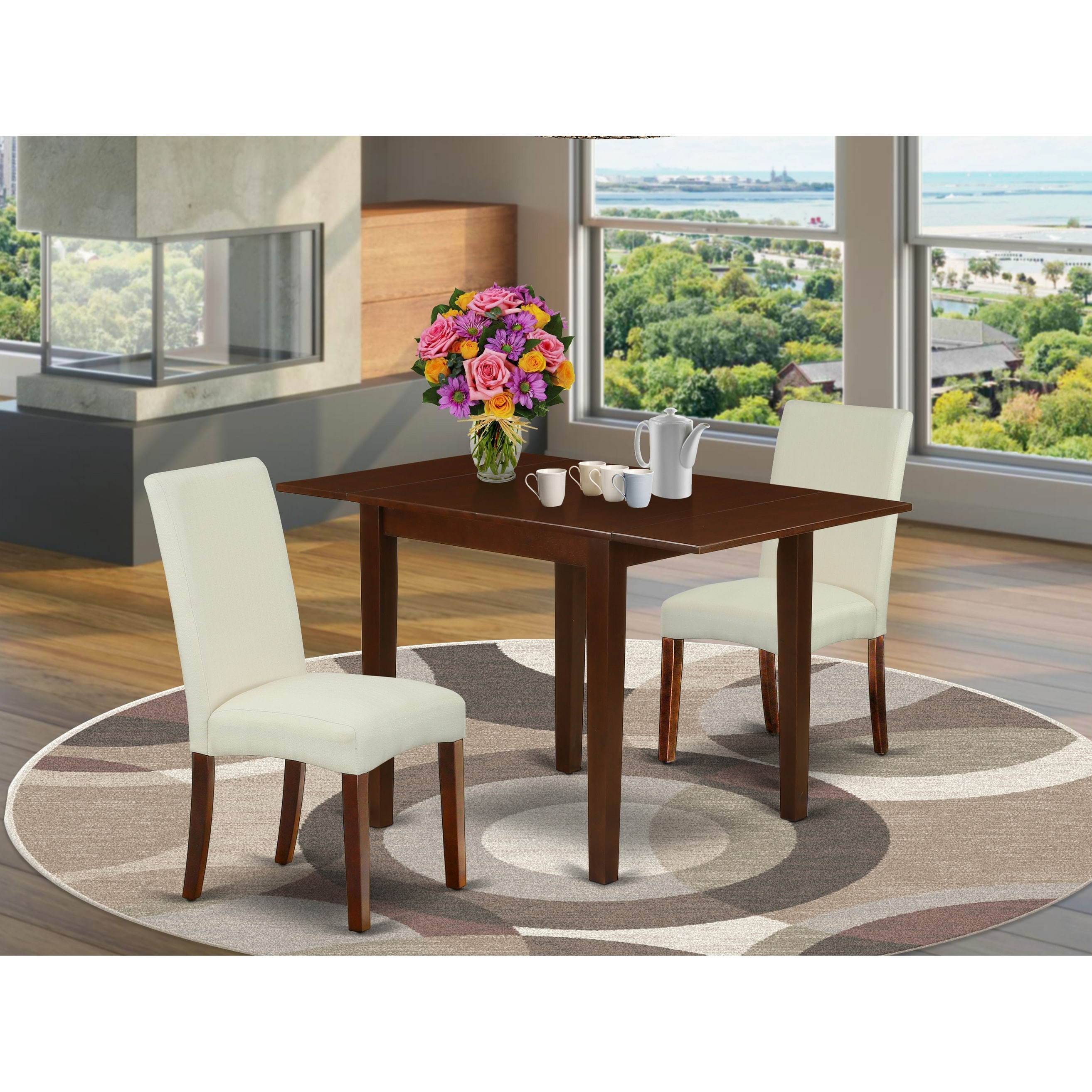 Rectangle Dinner Table And Solid Wood Parson Dining Chairs With Cream Color Linen Fabric Seat Number Of Chairs Option Overstock 32448458