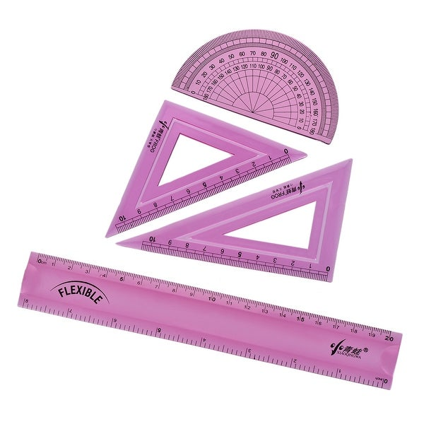 Flexible Measuring Tool Set with Protractor Triangle Ruler 8 Inch Straight Ruler