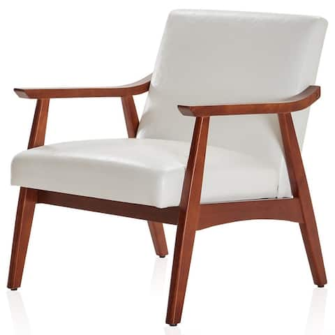 BELLEZE Chair Upholstered Faux Leather/ Fabric Armchair With Wood Legs - standard