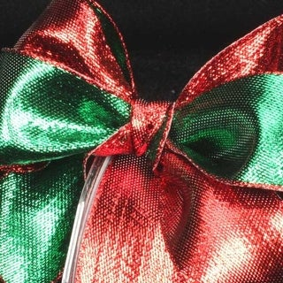 """Shimmering Red and Green Metallic Two-Color Wired Craft Ribbon 1.5"""" x 54 Yards"""