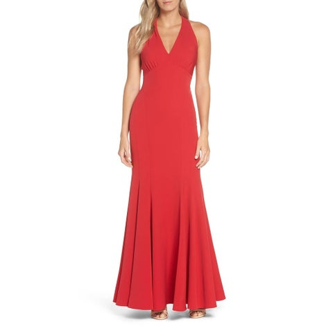 Vince Camuto Red Womens Size 10 Sleeveless Halter Trumpet Gown
