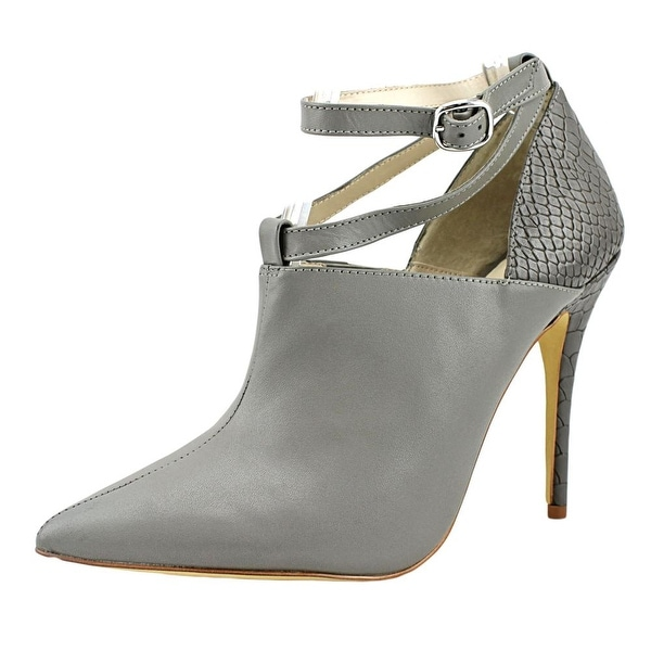 ShoeMint Victoria Women Pointed Toe Synthetic Gray Heels