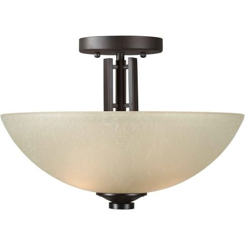 """Forte Lighting 2404-02 2 Light 14"""" Wide Semi-Flush Ceiling Fixture with White Linen Glass Shades"""