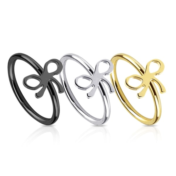 Ribbon IP Over 316L Surgical Steel Nose Ring (Sold Ind.)