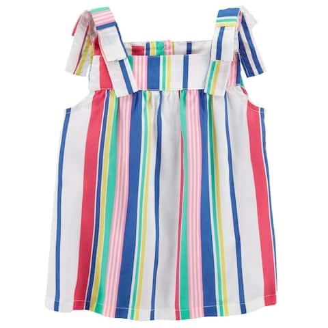 Carter's Baby Girls' Striped Tie Shoulder Tank Top, 12 Months