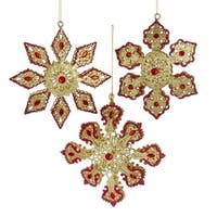 """Club Pack of 12 Red and Golden Colored Glittering Snowflake Ornaments 5"""" - GOLD"""