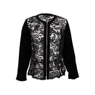 INC International Concepts Women's Velvet-Sleeve Lace Peplum Jacket (3X, Black) - Black