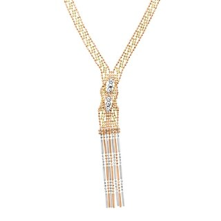 Just Gold Beaded Fringe Necklace in 14K Three-Tone Gold