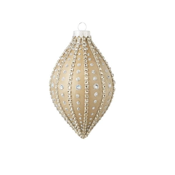 """5.25"""" Glamour Time Gold Textured, Glitter Beaded Gem Glass Finial Christmas Ornament"""