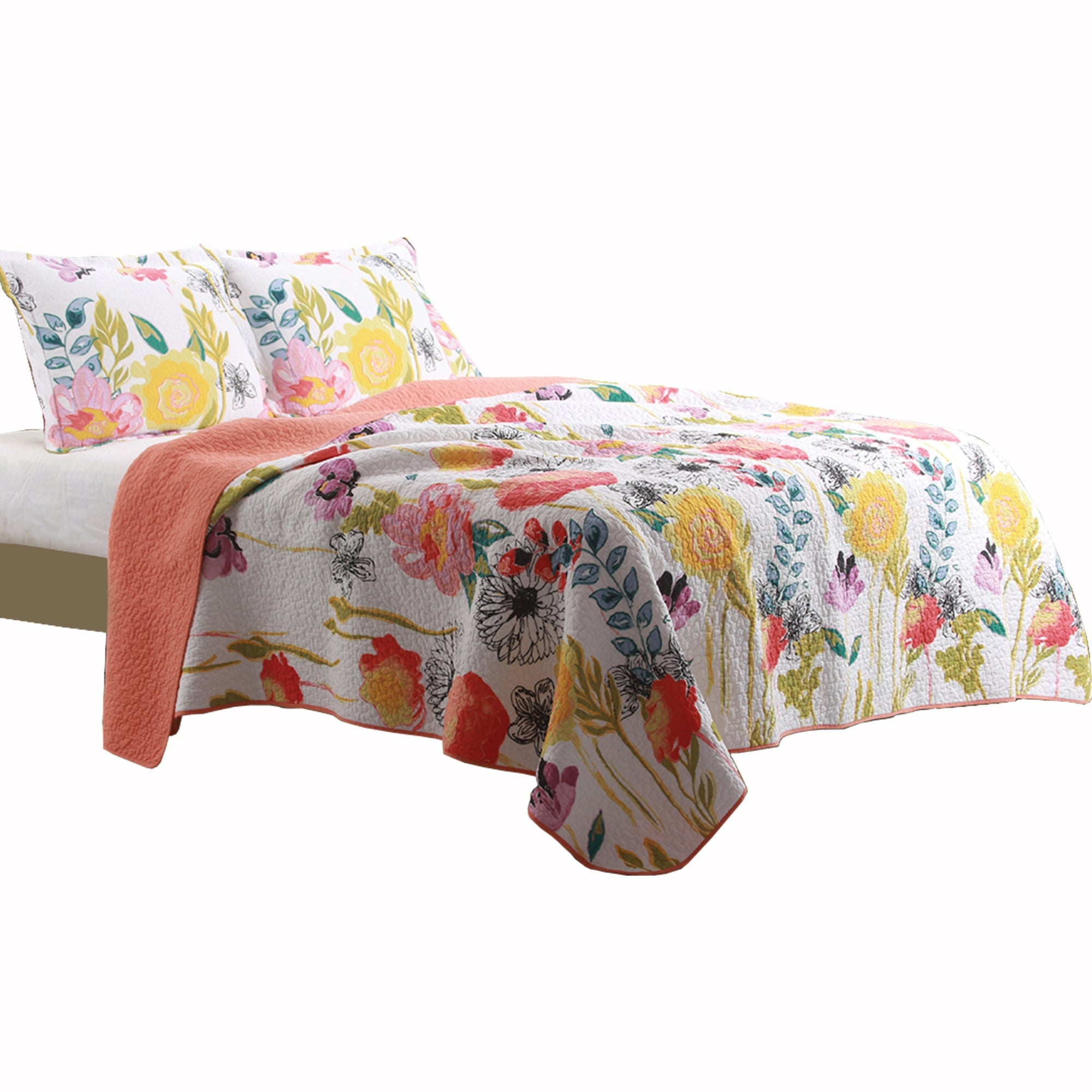 Shop Black Friday Deals On 3 Piece Cotton King Size Quilt Set With Stencil Flower Print Multicolor On Sale Overstock 31763195