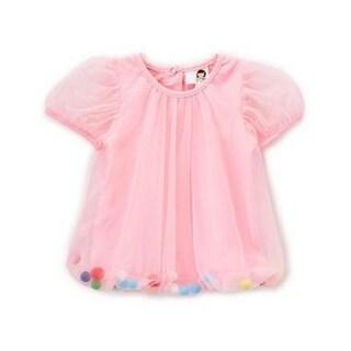 Wenchoice Baby Girls Pink Cupcake Rainbow Pom-Pom Top