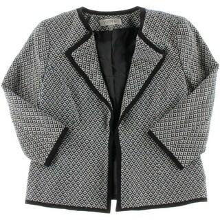 Kasper Womens Petites Pattern 3/4 Sleeves Blazer