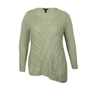 INC International Concepts Women's Cable Scoop Neck Sweater