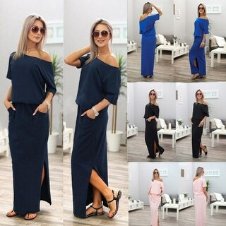 Casual Solid Off Shoulder Slit Maxi Dress