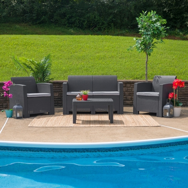 Faux Rattan Loveseat with All-Weather Cushions. Opens flyout.