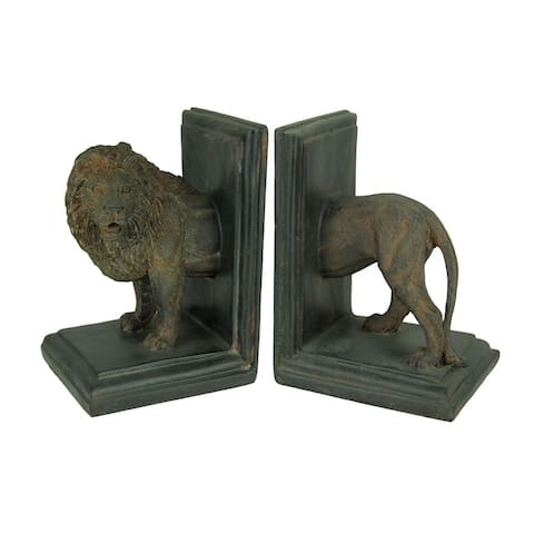 Antique Stone Finish Lion Top and Tail Bookend Set - 6.5 X 4.25 X 4 inches