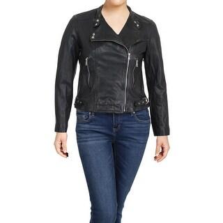 Lauren Ralph Lauren Womens Feyoshi Motorcycle Jacket Leather Bomber