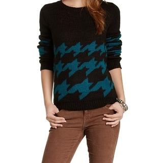 Romeo + Juliet NEW Black Houndstooth Small S Junior Crewneck Sweater