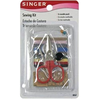 Singer Travel Sewing Clear Pouch Kit with Thread Scissors Pins Needles & Buttons