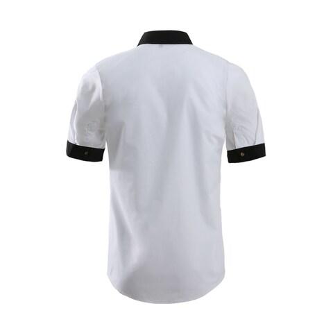 Unique Bargains Men's Button Front Point Collar Round Hem Casual Shirt