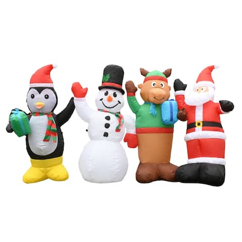 ALEKO Giant Inflatable LED Waving Christmas Quartet