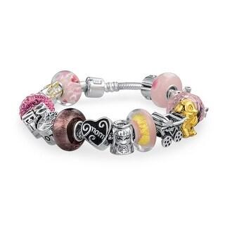 Love Mother Enamel Glass CZ Bead Charms Bracelet Pink 925 Silver (Option: 8.5 Inch)